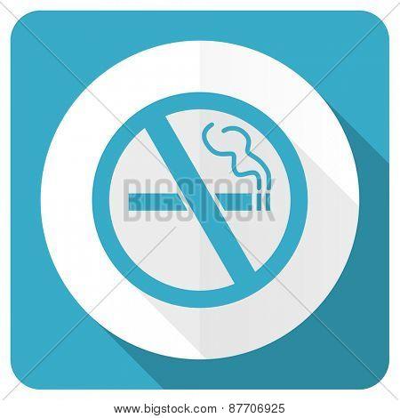 no smoking blue flat icon