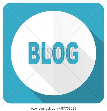 blog blue flat icon