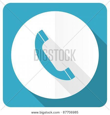 phone blue flat icon telephone sign