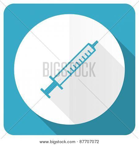 medicine blue flat icon syringe sign