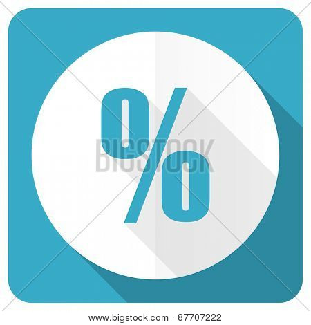 percent blue flat icon
