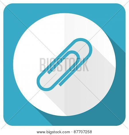 paperclip blue flat icon