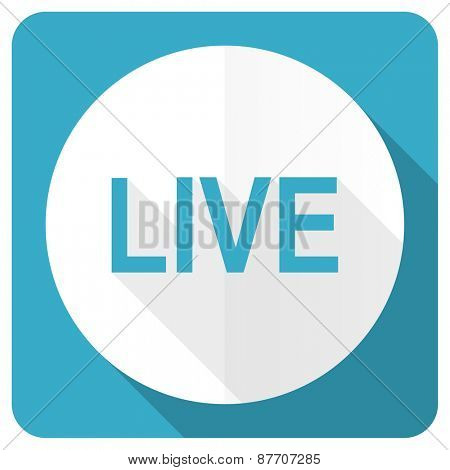 live blue flat icon