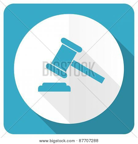 auction blue flat icon court sign verdict symbol