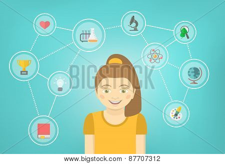 Genius Girl Interests Conceptual Infographics