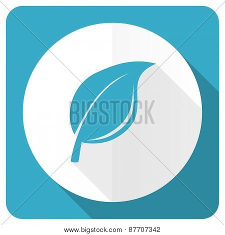 nature blue flat icon leaf sign
