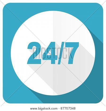 24/7 blue flat icon