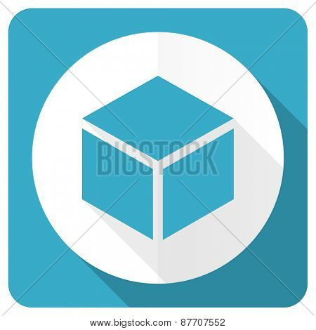 box blue flat icon