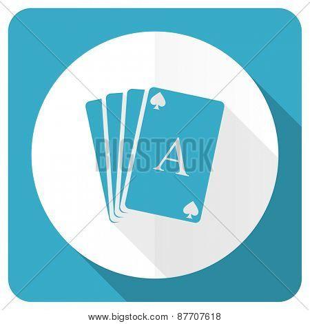 casino blue flat icon hazard sign