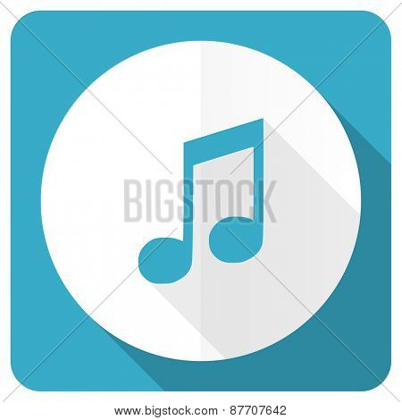 music blue flat icon note sign