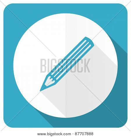 pencil blue flat icon