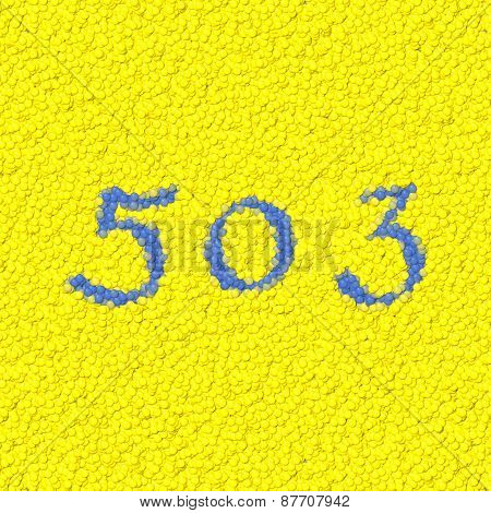 Number 503 composed of toy balls seamless texture