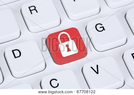 Computer Security On The Internet Lock Icon