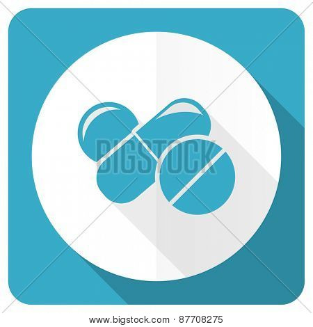 medicine blue flat icon drugs symbol pills sign