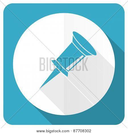 pin blue flat icon