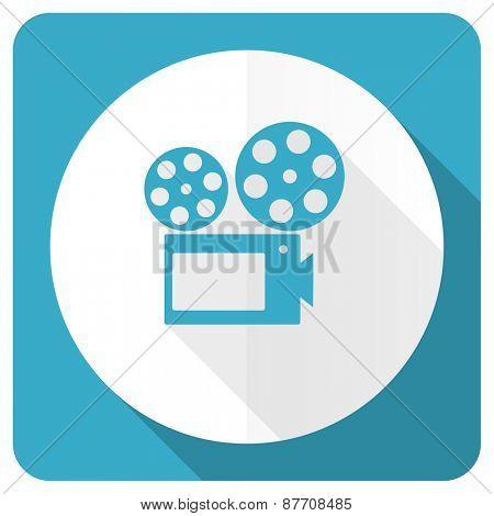 movie blue flat icon cinema sign