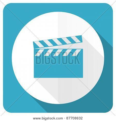 video blue flat icon cinema sign