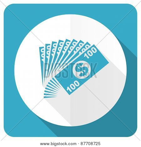 money blue flat icon cash symbol
