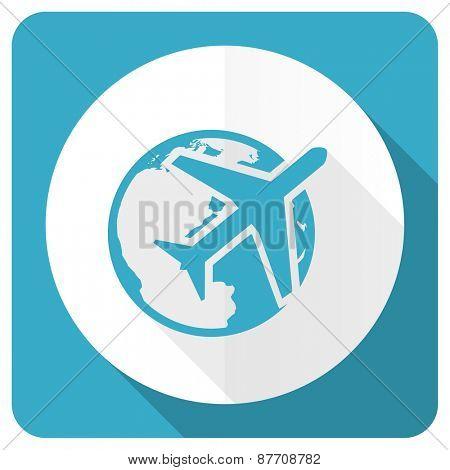 travel blue flat icon