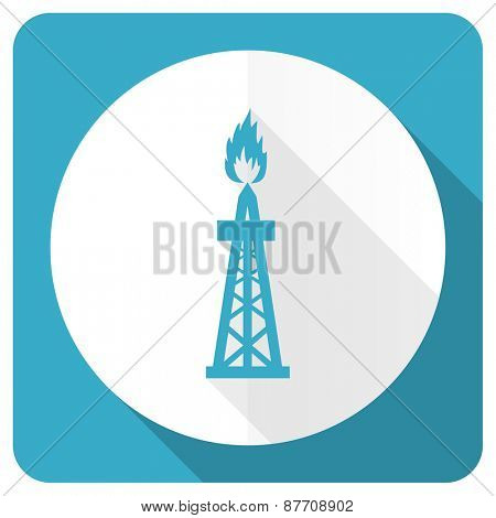 gas blue flat icon oil sign