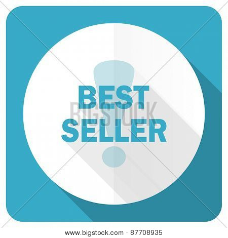 best seller blue flat icon