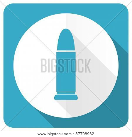 ammunition blue flat icon weapoon sign
