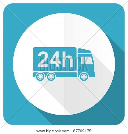 delivery blue flat icon 24h shipping sign