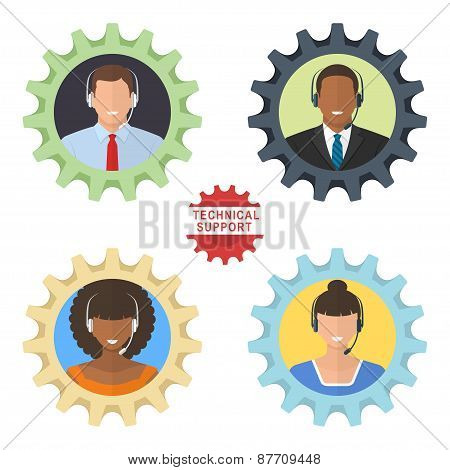 Four technical support flat illustrations