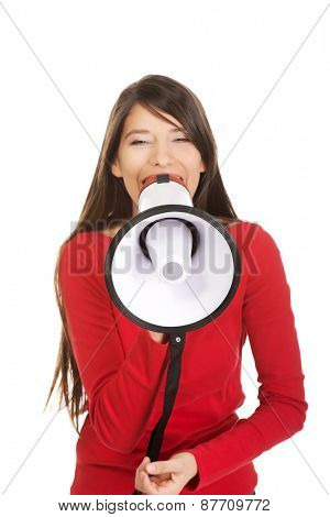 Attractive young woman with megaphone.