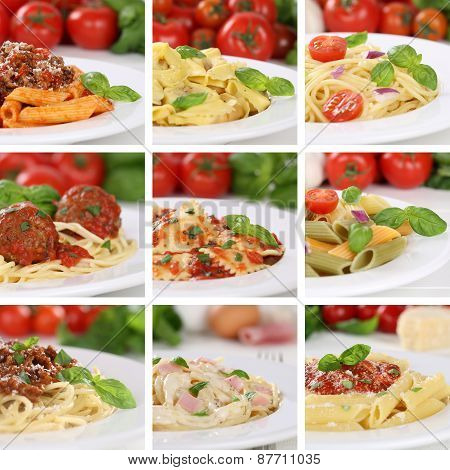 Italian Cuisine Collection Of Spaghetti Pasta Noodles Food Meals With Tomatoes