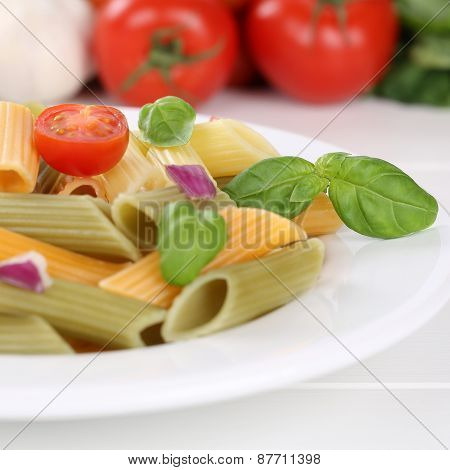 Italian Cuisine Colorful Penne Rigatoni Noodles Pasta Meal With Tomatoes On Plate
