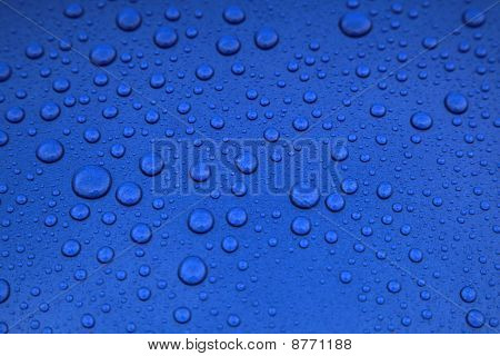 Raindrops on a bluecar