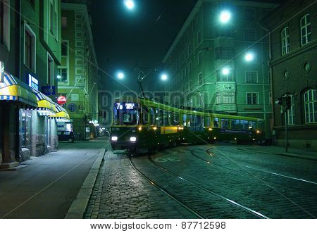 A city tram on a foggy street September 11, 2014 in Helsinki