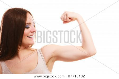 Teen Girl Showing Her Muscles On White