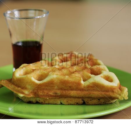 Delicious belgian waffle with milk