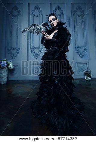 high fashion model in black dress