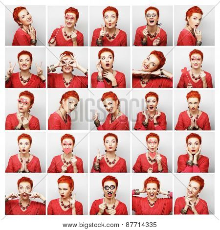 Collage of woman different facial expressions.Ready for party.