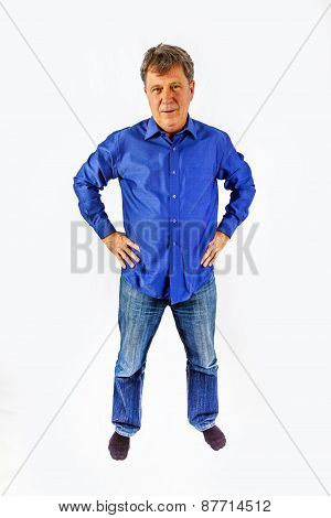 Portrait Of A Senior Man Standing On White Background And Gesturing With His Hand