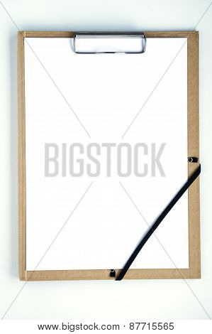 blank white paper and clip board