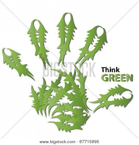 Concept or conceptual human or child abstract green ecology hand print symbol made of leafs,isolated on white background