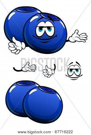 Cartoon smiling fresh blueberry characters