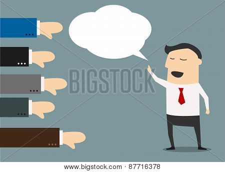 Cartoon businessman with negative feedback