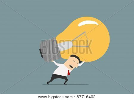 Unhappy businessman carrying the big idea
