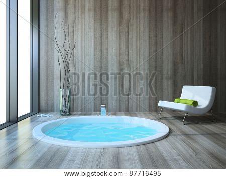 Bathroom in modern style 3D rendering