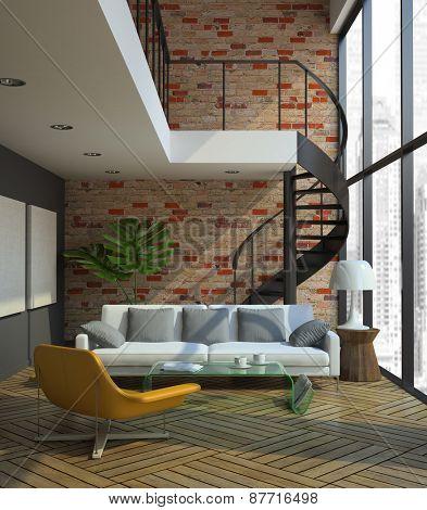Loft interior 3D rendering