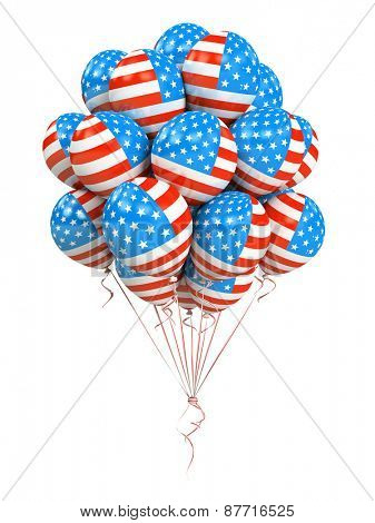 Bunch of american flag balloons isolated on white background