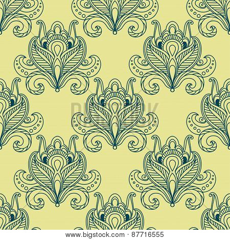 Paisley dense flower buds seamless pattern