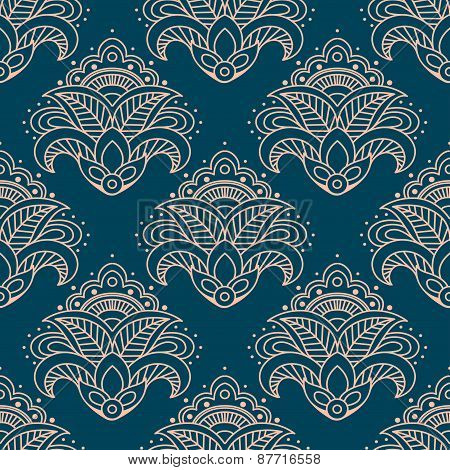 Paisley bell shaped flowers seamless pattern