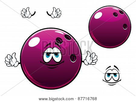 Glossy bowling ball cartoon mascot character