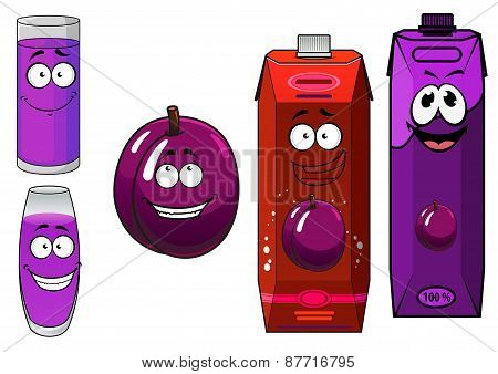 Cartoon plum juice packs with glasses and fruit